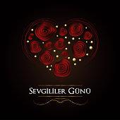 Sevgililer Gunu Kart Vektor Tasarimi (Translation from Turkish: Valentine's Day Card Design Vector Illustration)