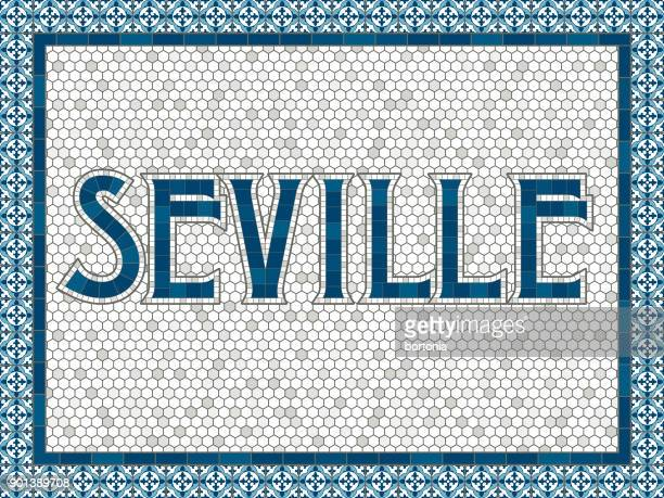 seville old fashioned mosaic tile typography - seville stock illustrations, clip art, cartoons, & icons