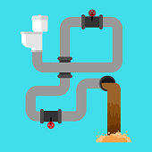 Sewage system. Toilet bowl and sewer. Wastewater. Vector illustration