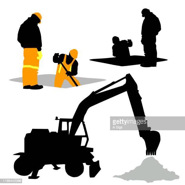 下水道ディグバックホウ - 掘る点のイラスト素材/クリップアート素材/マンガ素材/アイコン素材