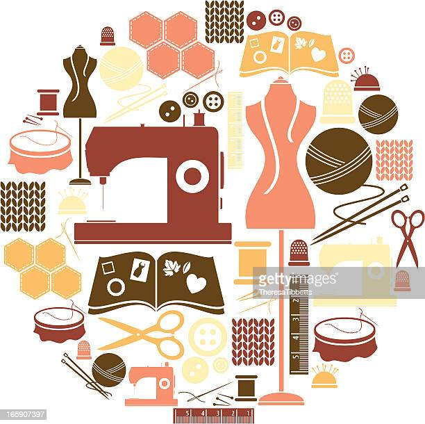 sewing and craft icon set - sewing machine stock illustrations, clip art, cartoons, & icons