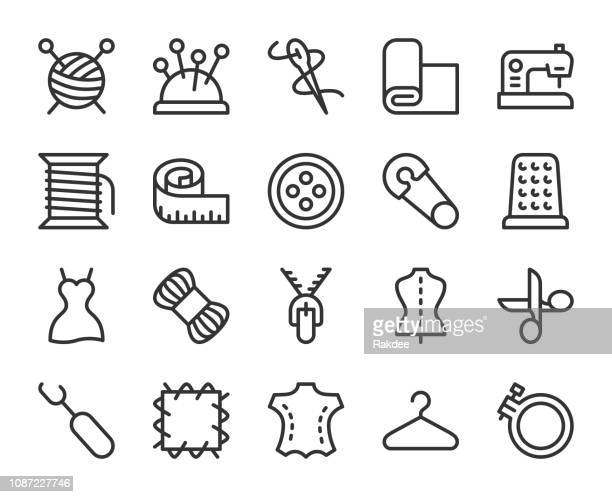 sewing and needlework - line icons - textile industry stock illustrations