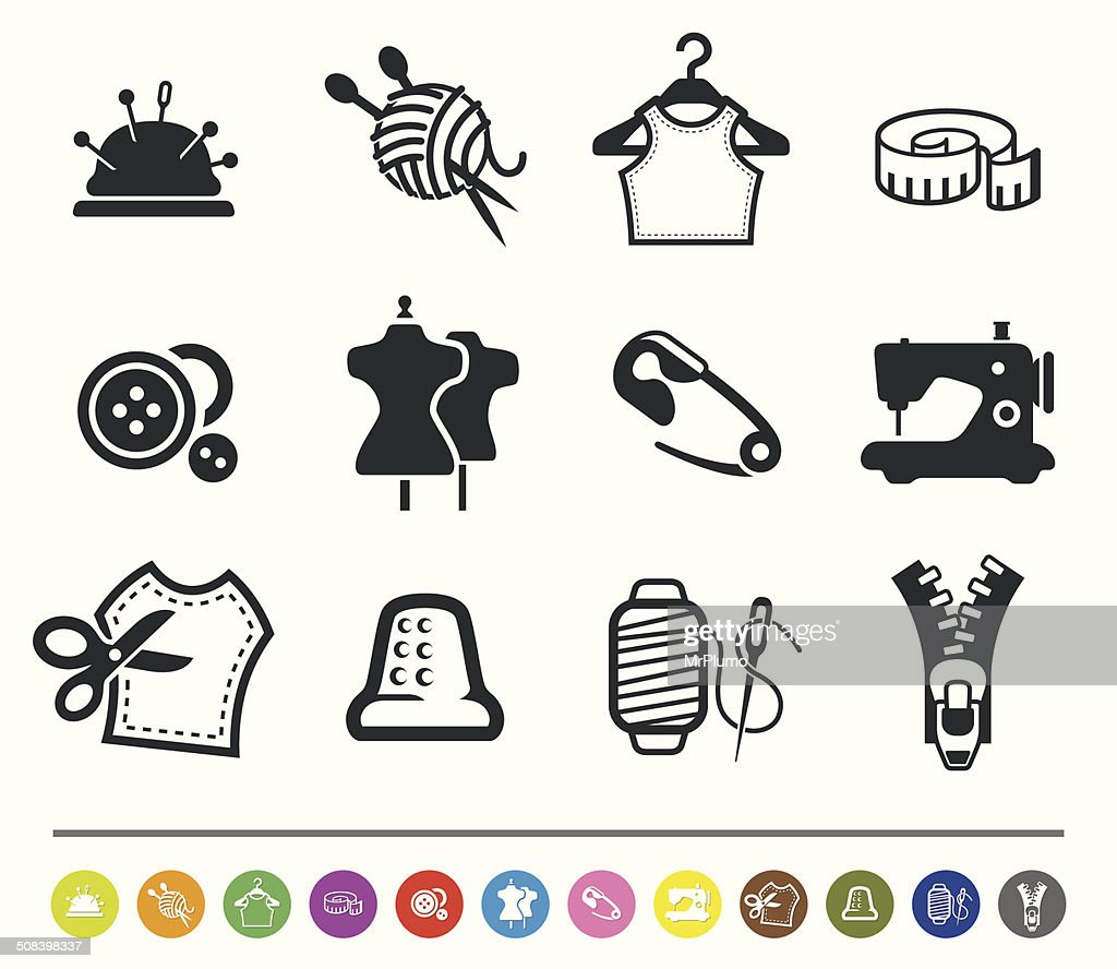 Sewing And Tailor Icons Siprocon Collection stock illustration