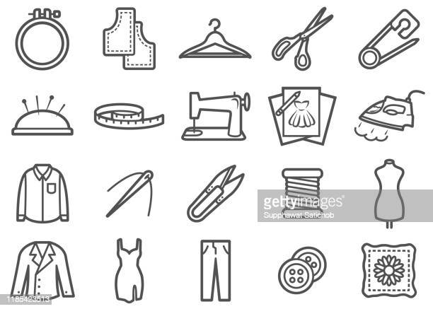 sewing and tailor made line icons set - fashion collection stock illustrations