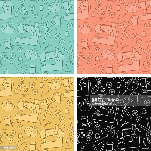 sewing background pattern - sewing machine stock illustrations, clip art, cartoons, & icons