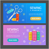 Sewing Banner Horizontal Set. Vector