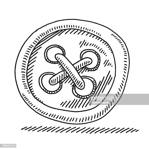sewing button drawing - button sewing item stock illustrations