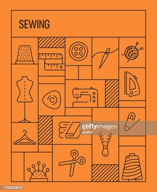 stockillustraties, clipart, cartoons en iconen met naaien concept. geometrische retro stijl banner en poster concept met naaien gerelateerde lijn iconen - zoom
