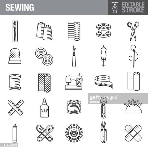 sewing editable stroke icon set - bandage stock illustrations