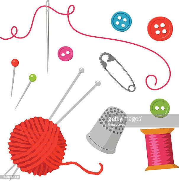 sewing elements - wool stock illustrations