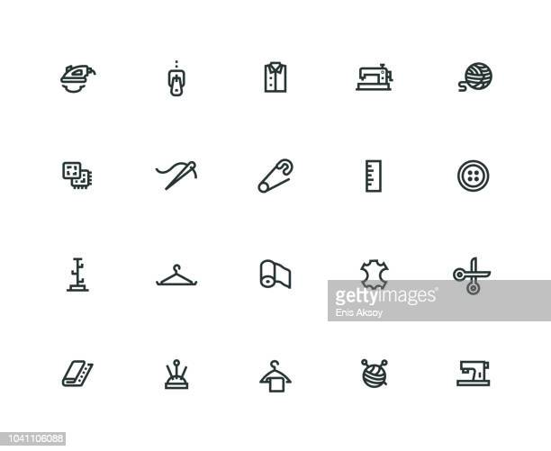 sewing icon set - thick line series - sewing machine stock illustrations, clip art, cartoons, & icons