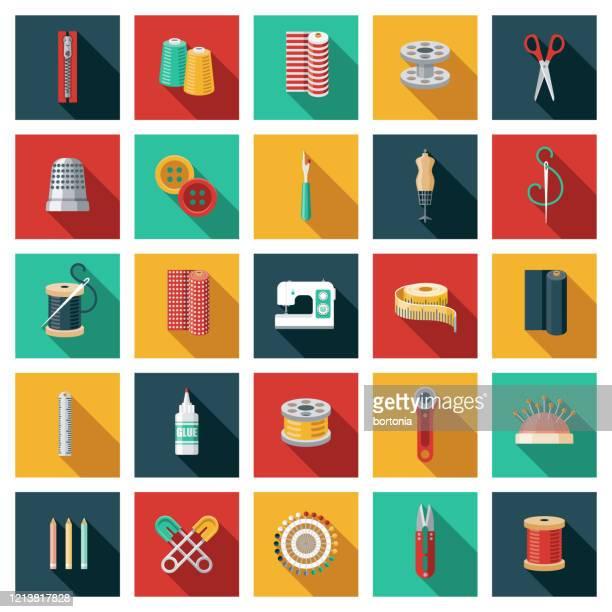 ilustrações, clipart, desenhos animados e ícones de conjunto de ícones de costura - rolo