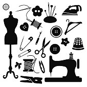 Sewing icon set vector illustration