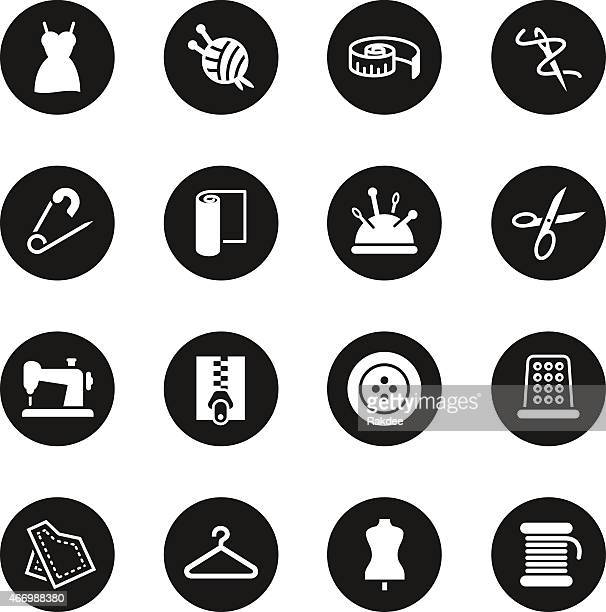 Ícones de costura-círculo preto série