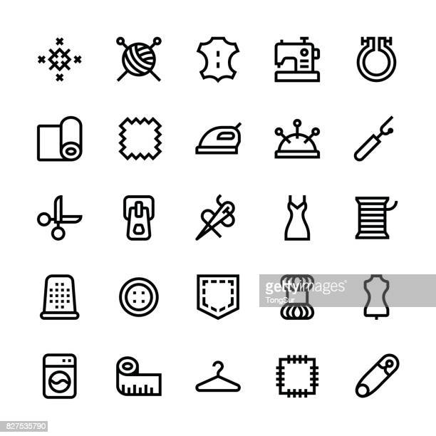 sewing icons - medium line - textile industry stock illustrations