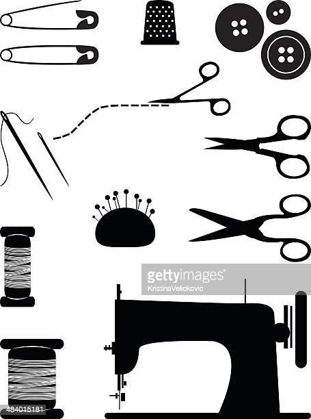 sewing icons - sewing machine stock illustrations, clip art, cartoons, & icons