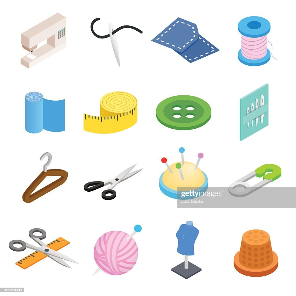 Sewing isometric 3d icon