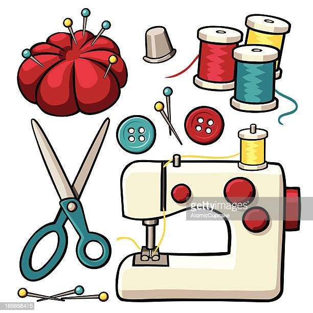 sewing items - sewing machine stock illustrations, clip art, cartoons, & icons