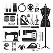 Sewing Kits Icons Set, Monochrome
