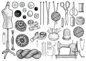 Sewing, knitting equipment collection illustration, drawing, engraving, ink, line art, vector