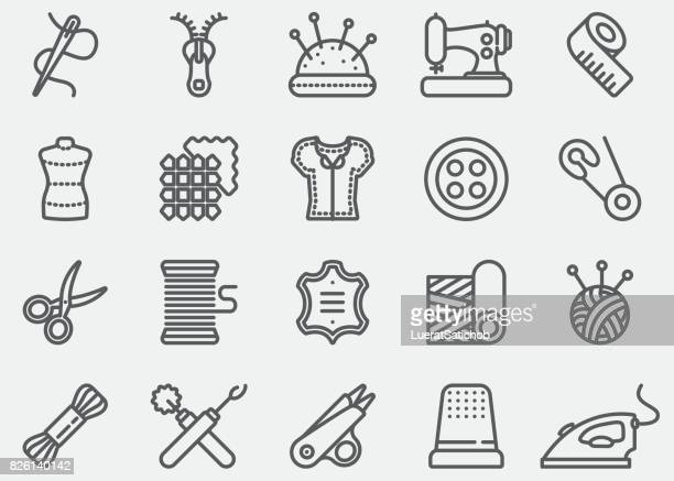 sewing line icons - craft product stock illustrations