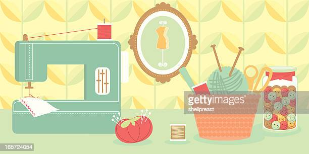 sewing machine and craft accessories - sewing machine stock illustrations, clip art, cartoons, & icons