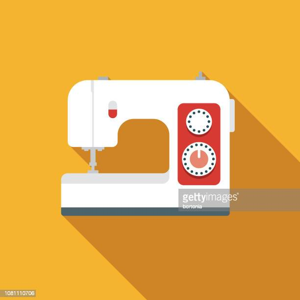 sewing machine flat design appliance icon - sewing machine stock illustrations, clip art, cartoons, & icons