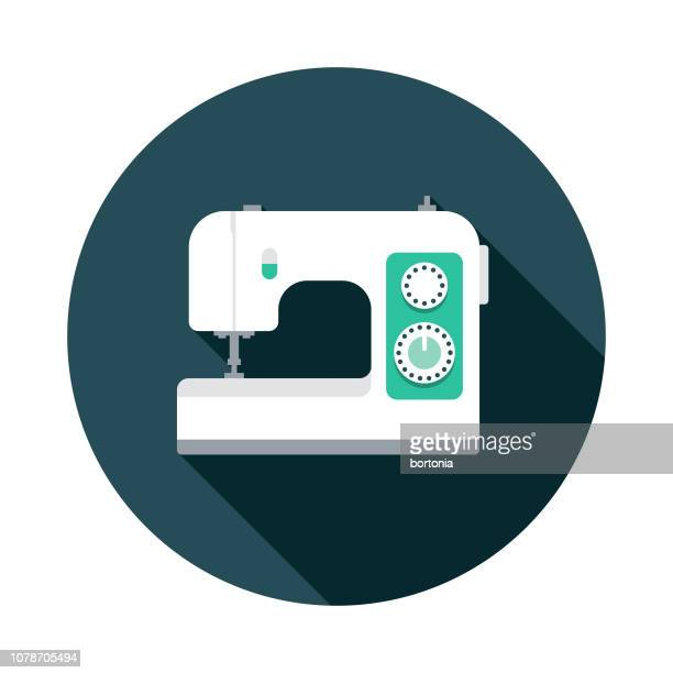 sewing machine flat design icon - sewing machine stock illustrations, clip art, cartoons, & icons