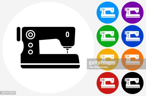 sewing machine icon on flat color circle buttons - sewing machine stock illustrations, clip art, cartoons, & icons