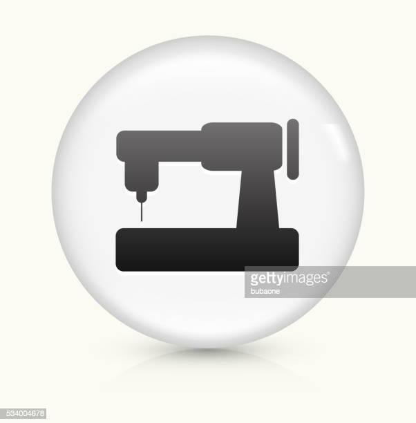 sewing machine icon on white round vector button - sewing machine stock illustrations, clip art, cartoons, & icons