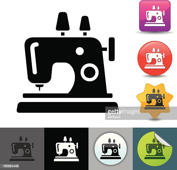 sewing machine icon | solicosi series - sewing machine stock illustrations, clip art, cartoons, & icons