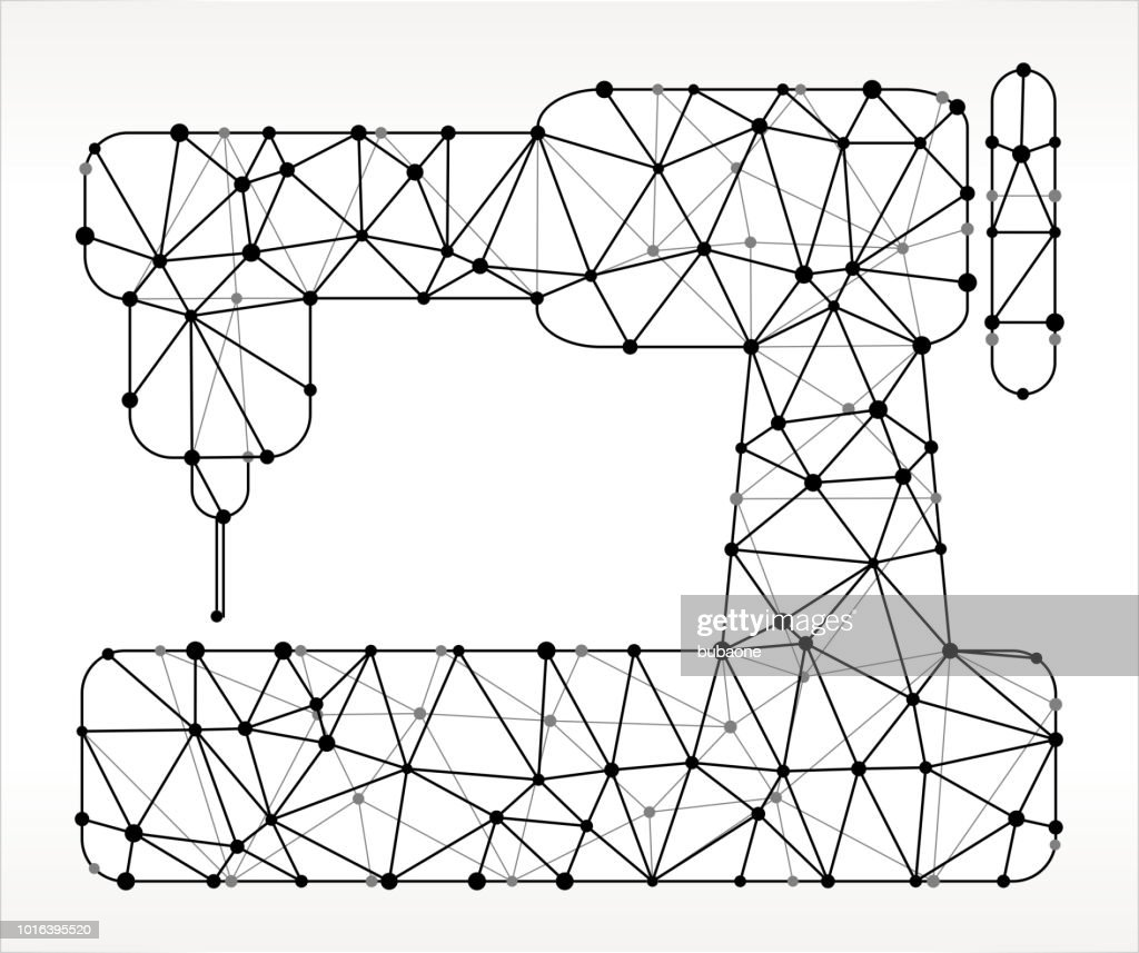 Sewing Machine Triangle Node Black And White Pattern Vector Art ...