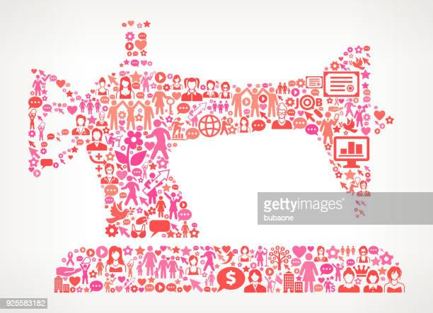 Nähmaschine Frauen Rechteund weibliche Ermächtigung Symbol Muster