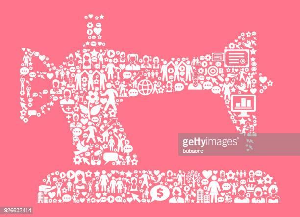 Nähmaschine von Frauenrechten und Girl Power Symbol Muster
