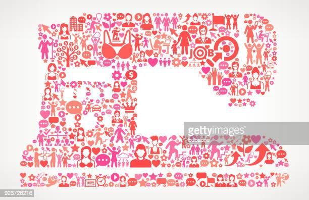 Rechte/Nähmaschine Frauen- und Mädchen-Symbol Muster