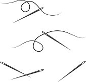 Sewing Needle and Thread Design Elements, Icons