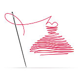 Sewing Needle with a Red Thread in the Form of a Dress