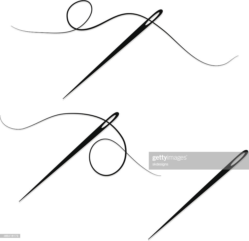 sewing needles and thread design elements set icons vector art getty images. Black Bedroom Furniture Sets. Home Design Ideas