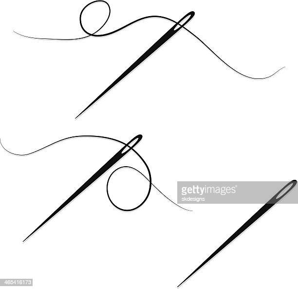 sewing needles and thread design elements, set, icons - spine stock illustrations