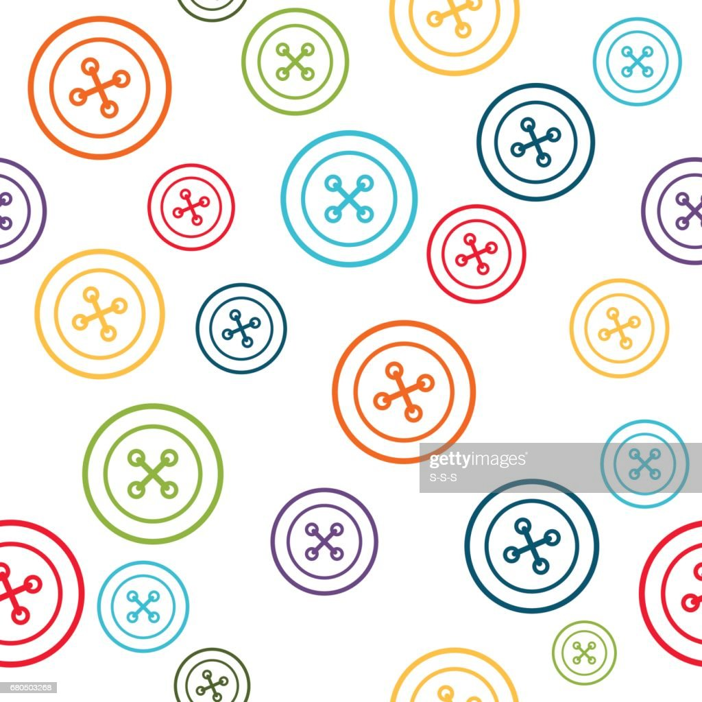 Sewing Pattern With Colorful Line Buttons Vector Art | Getty Images