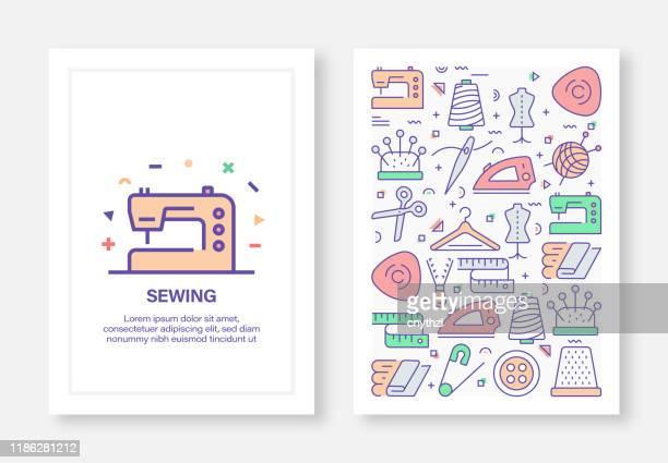 ilustrações, clipart, desenhos animados e ícones de costura relacionadolinha estilo cover design para relatório anual, flyer, brochura. - rolo