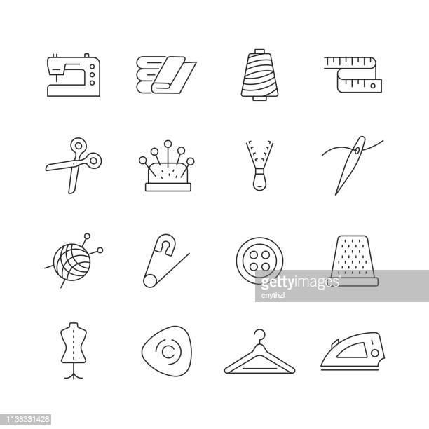 illustrations, cliparts, dessins animés et icônes de couture liée-ensemble d'icônes de vecteur de ligne mince - secteur de la mode
