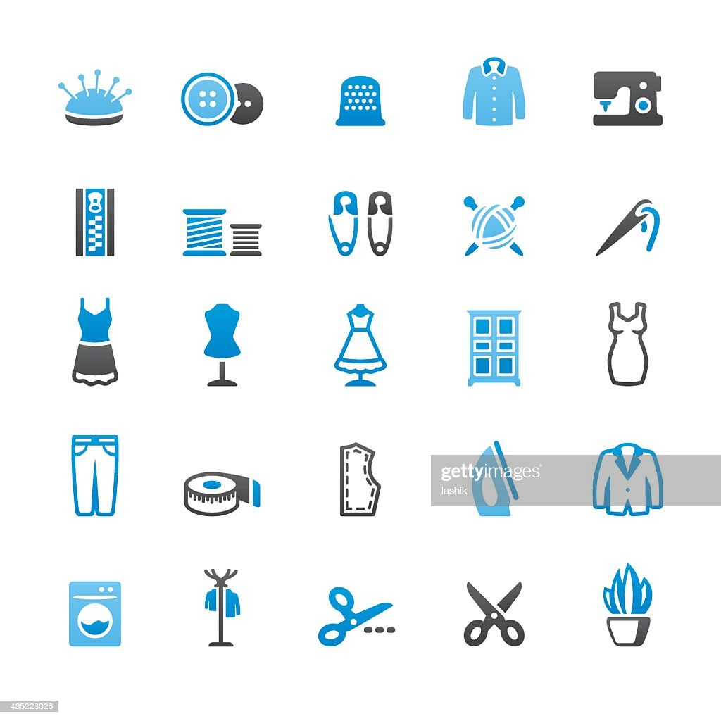Sewing related vector icons
