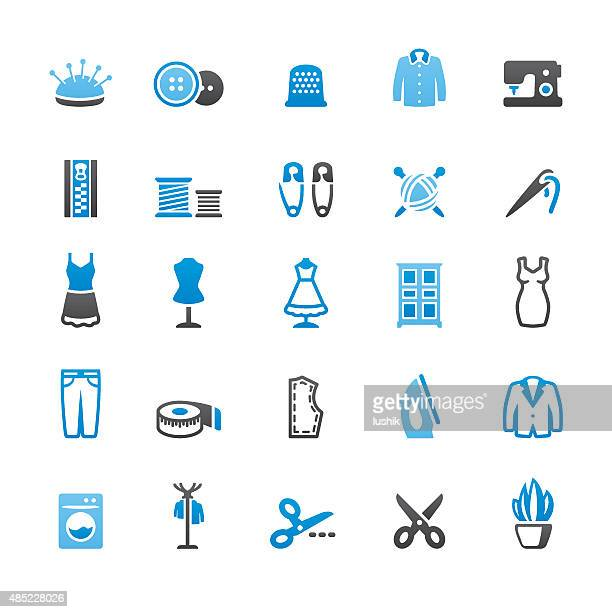 sewing related vector icons - textile industry stock illustrations