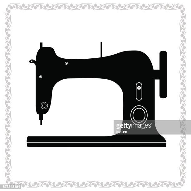 sewing retro design with ornament border white - sewing machine stock illustrations, clip art, cartoons, & icons