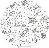 sewing service concept illustration thin line design