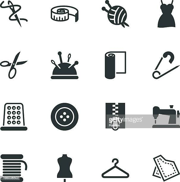 sewing silhouette icons - textile industry stock illustrations