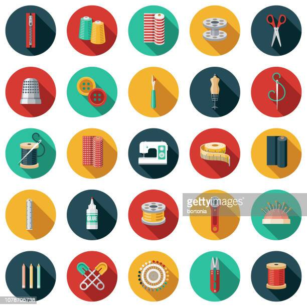 Sewing Supplies Flat Design Icon Set