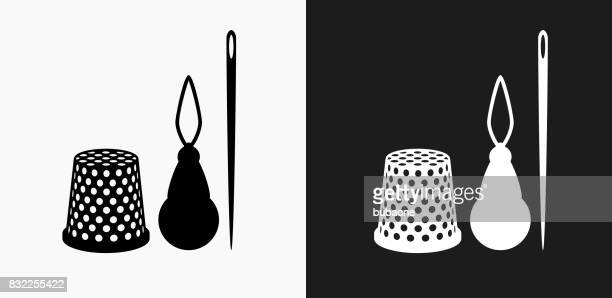 Sewing Supplies Icon on Black and White Vector Backgrounds