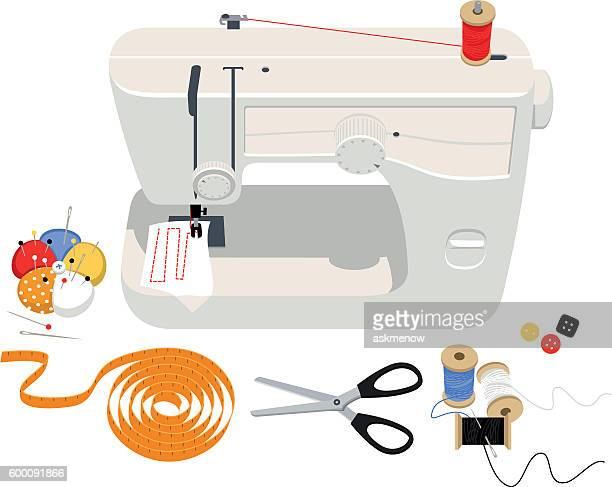 sewing supplies - sewing machine stock illustrations, clip art, cartoons, & icons